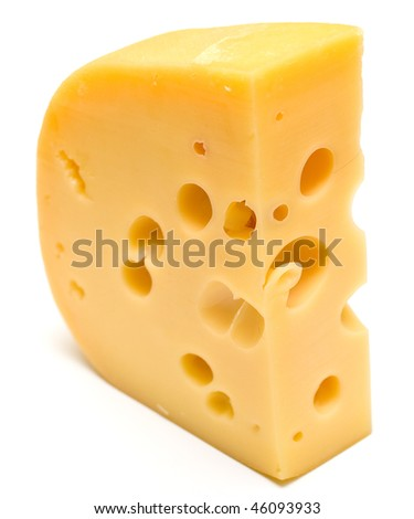 The big piece of cheese on white background. Isolation, shallow DOF