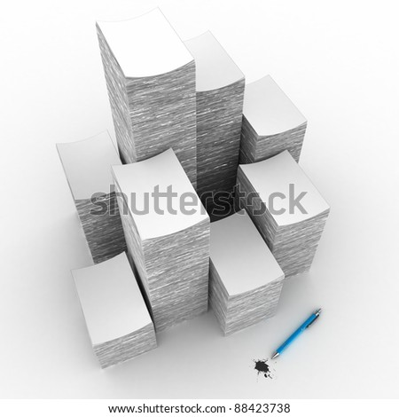 The big pile of a paper on a white background