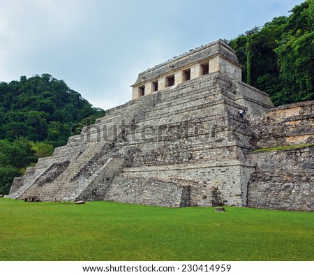 The big pyramid in  Palenque, Mexico - stock photo