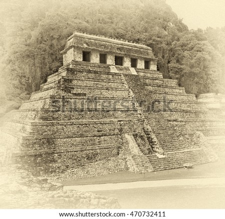 The big pyramid in Palenque - Mexico (stylized retro)