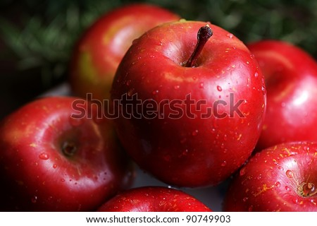 The big red apples - stock photo
