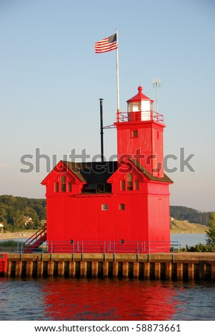 The Big Red Lighthouse in Holland, Michigan - stock photo