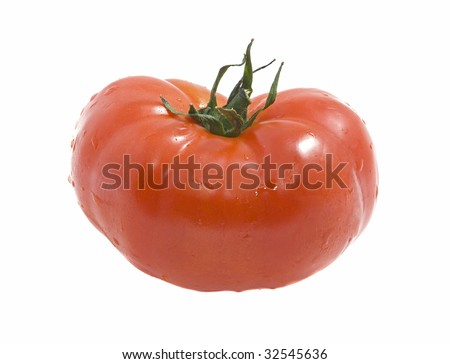 The big red tomato on a white background - stock photo