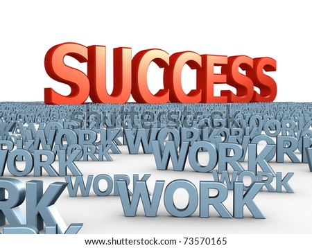 "The big red word ""success"" among set of words ""work"" - stock photo"