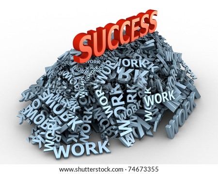 "The big red word ""success"" on the big pile of words ""work"" - stock photo"
