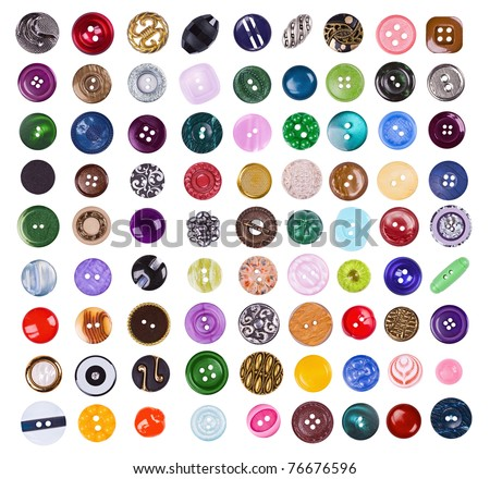 The big set of various buttons on the white - stock photo