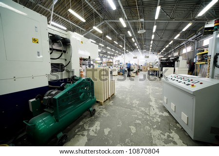 The big shop in a modern printing house