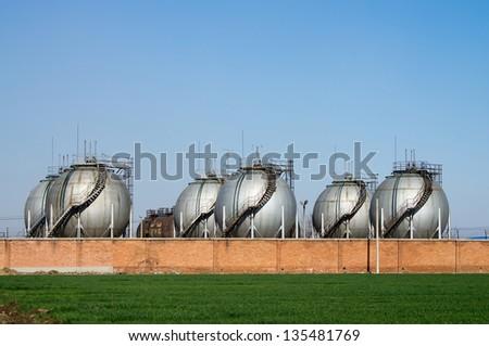 The Big silver color Storage Tanks - stock photo