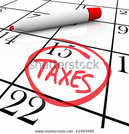 The big Tax Day, the 15th, is circled on a white calendar with a red marker - stock photo