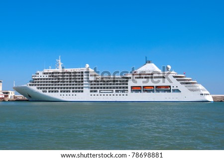 The big tourist liner in a port - stock photo