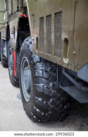 The big wheel of a military truck