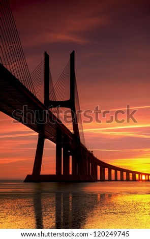The biggest bridge in Portugal connect Lisbon with the south - stock photo