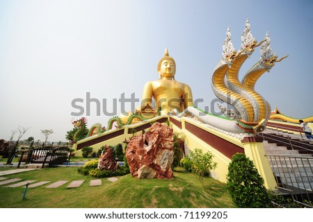 the biggest buddha in thailand - stock photo