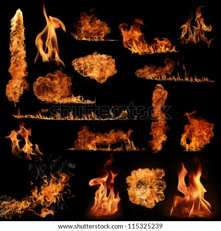 The biggest fire flame collection - stock photo