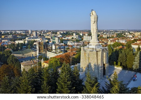 The biggest Monument of Virgin Mary in the world, City of Haskovo, Bulgaria - stock photo