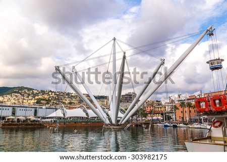The Bigo is a main touristic attraction in a summer day in Genoa, Italy - stock photo