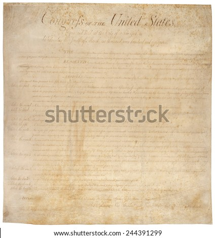 The Bill of Rights. The first ten amendments to the US Constitution were adopted by the House of Representatives on August 21 1789 and ratified December 15 1791. - stock photo