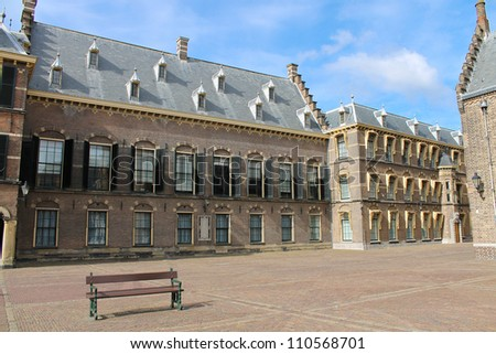 The Binnenhof at Den Haag, building of the dutch parliament and government - stock photo