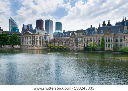 "The Binnenhof (Dutch, literally ""inner court""), is a complex of buildings in The Hague. It has been the location of meetings of the Staten-Generaal, the Dutch parliament - stock photo"