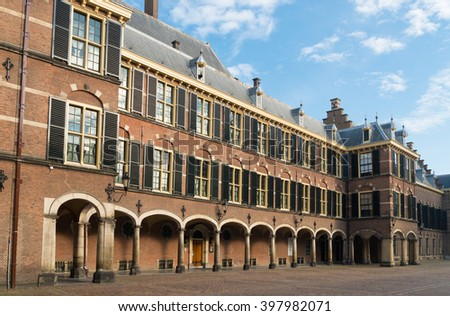 The Binnenhof in The Hague, building of the dutch parliament and government - stock photo