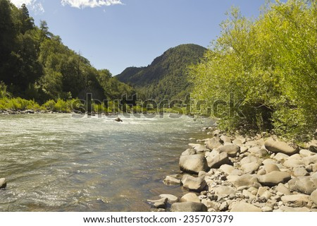 The Bio Bio river passing through Nalcas National Reserve, National Park. Chilean Patagonia, Chile.   - stock photo