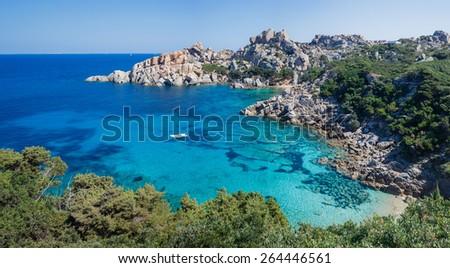 The bird's-eye view of the bay, Capo Testa, Sardinia, Italy. Panorama - stock photo