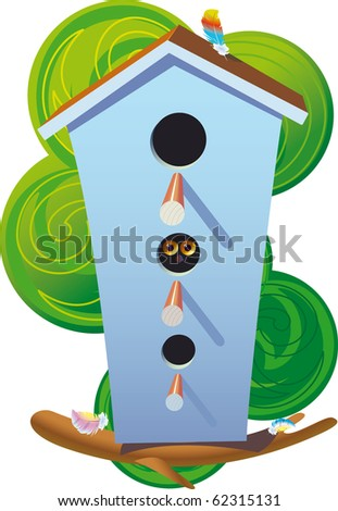 the bird's house, in the form of a hostel, cozy located in a tree crone on a branch. - stock photo