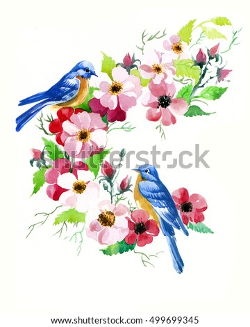 the birds on a branch with flowers made by hand drawn isolated on the white background