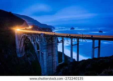 The Bixby Creek Bridge at night, in Big Sur, California. - stock photo