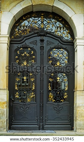 The black and old, iron door