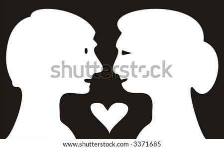 The black-and-white figure of enamoured pair created in the form of white silhouettes on a black background. Curvature of lines - specific idea of the author. A picture isolated.