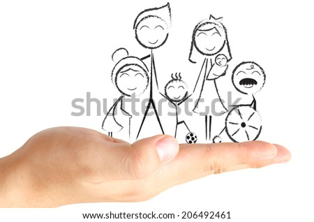 The black and white ink drawing of happy family on real human opening hand and the white background. - stock photo