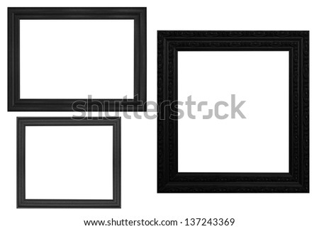 The black antique frame isolated white background. - stock photo