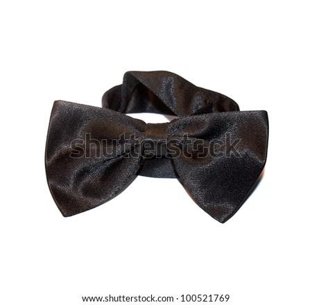 The black bow-tie over white background - stock photo