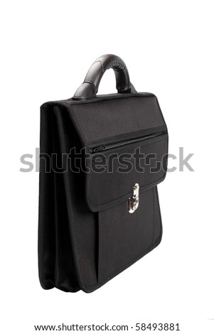 the black briefcase isolated on white background - stock photo