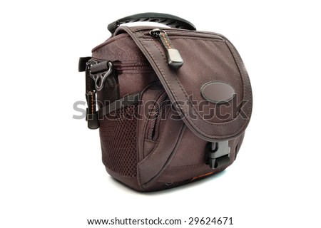 the black camera bag isolated on white background