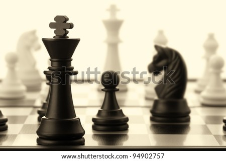 The black chess king. Old toned. Selective focus - stock photo