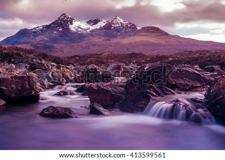 The black cooulins on the Isle of Skye in Scotland - stock photo