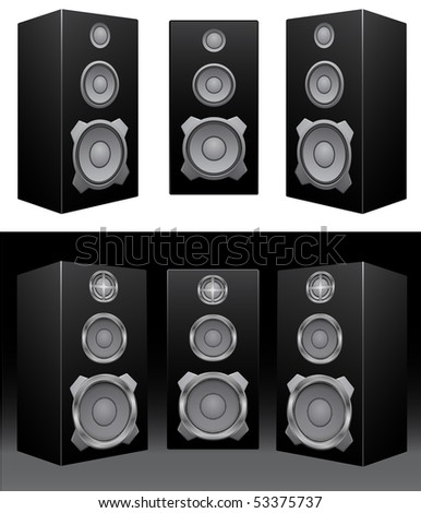 The black 3d speakers on the black and white background
