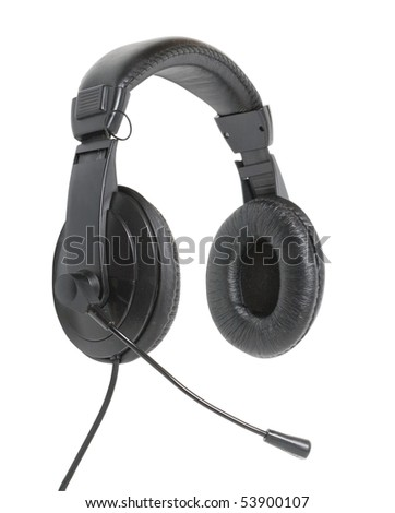 The black headphones on a white background. Isolation. - stock photo