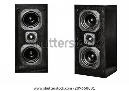 The black hi-fi sound speakers on white - stock photo