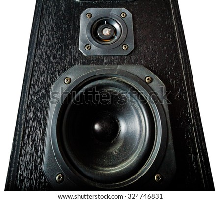 The black hi-fi sound speakers. View from bottom - stock photo