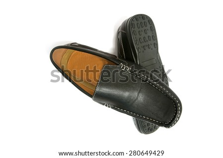 The black man's shoes isolated on white background - stock photo