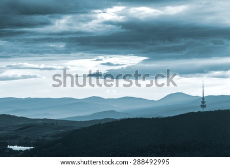 The Black Mountain And Beyond During Dusk Twilight - stock photo