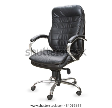 the black office chair on white background - stock photo