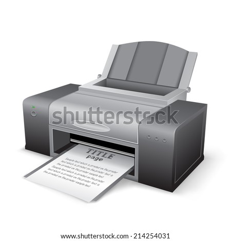 The black printer on the white background - stock photo