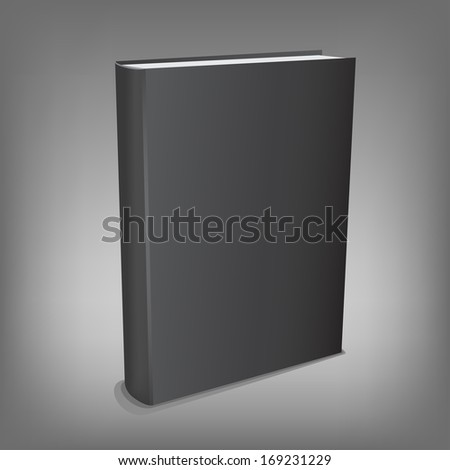 The black realistic book isolated on the gray mesh background - stock photo