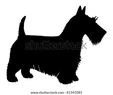 The black silhouette of a Scottie Dog Sitting Silhouette