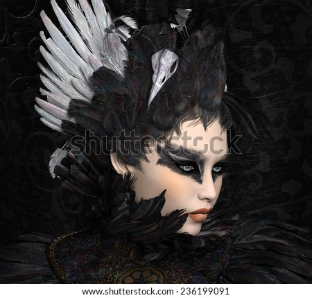 The black swan portrait - stock photo