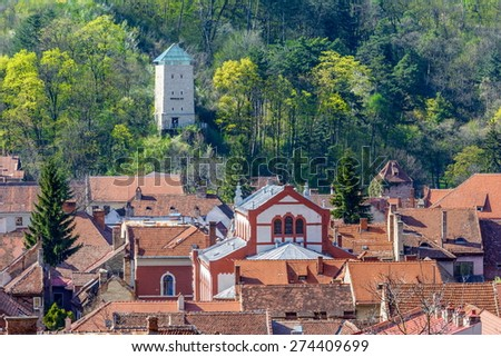 The black tower(romanian Turnul negru) was built in 1494 on a rock on Starja Hill, near the Blacksmiths' bastion. - stock photo